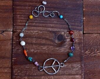 Mixed Stone Sterling Silver Bracelet - Hippie Peace Bracelet - Boho Colorful Bracelet - Oxidized Sterling Silver Bracelet - Dainty Bracelet