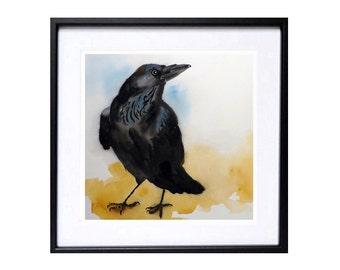 Raven Art Black Bird Prints: Black crow artwork Watercolor painting Animal painting crow art black Raven wall art Wildlife