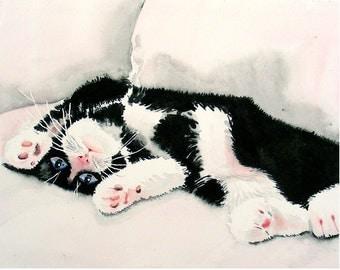 Black cat, Black and White Kitty, Cat prints, Black kitty, Tuxedo cat, Kitten artwork, Nursery wall Art, Watercolor,Easter Sale, Cat Artwork