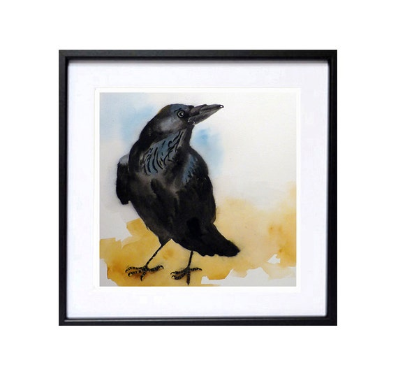 Raven Art Black Bird Painting, Crow artwork Print of a watercolor painting Animal painting crow art black Raven wall art Wildlife