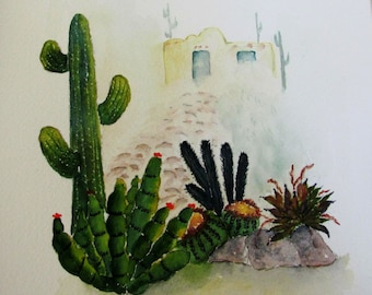 desert watercolor painting, southwest landscape painting, southwest home decor, 11x14 watercolor