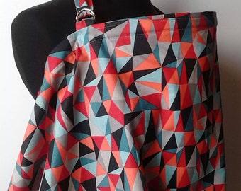 Nursing Cover- Geometrics Gray Orange