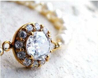 Clearance SALE Bridal CZ Bracelet Ivory Swarovki Pearl Gold CNB3