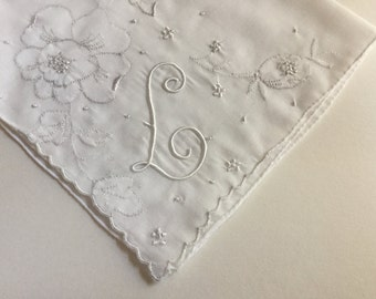 Vintage White Hanky with a White Initial L - Handkerchief Hankie