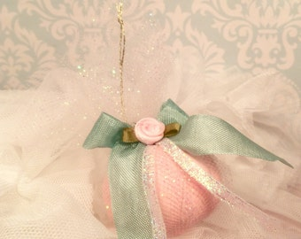 Fairytale fall pumpkin ornament pink and sage green fall decor victorian shabby vintage inspired party decor thanksgiving decor