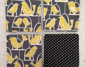 Drink Coasters - Set of 4 - Yellow Love Birds on Grey