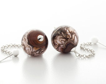 glass earrings, brown pink lampwork, sterling silver, dangle, round, artisan jewelry