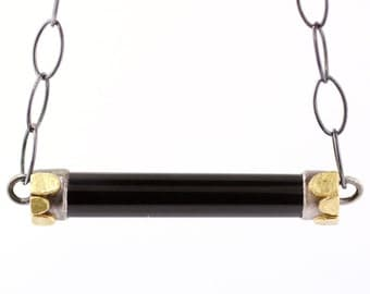 Lichen Black Jade Bar Necklace Sterling Silver 18k Gold Recycled Metal Modern Style