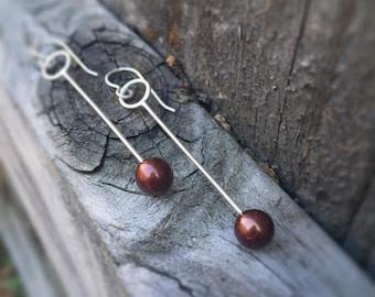 Chocolate Burnt Umber Pearl Modern Circle Swing Earrings