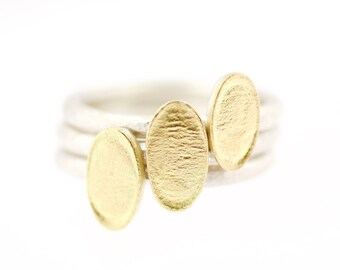 Lichen Oval Flat Stacking Ring Sterling Silver 18K Gold Recycled Metal TRIO SET