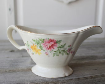 Floral Gravy Boat, Vintage Edwin M. Knowles, flower creamer, vintage creamer, old gravy boat