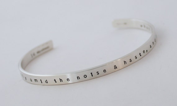 Desiderata Cuff Bracelet for Women & Men - Silver Cuff Bracelet - Max Ehrmann Desiderata - Unisex