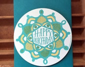 letterpress birthday radial pattern