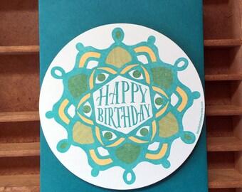 letterpress birthday radial pattern