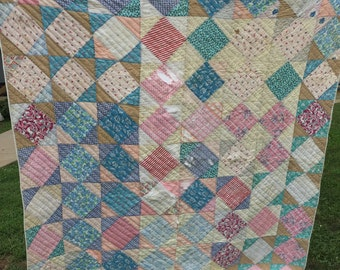 Vintage Hand Quilted Feedsack Fabric Square in Square Cutter Quilt