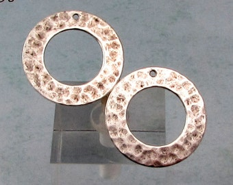 Hammered Ring, Toggle Ring, Antique Silver, 2 Pc. AS141-2