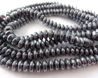 "16"" Strand Natural Hematite Rondell Grey Metal Beads 3X6mm A703"