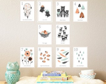 25% OFF SALE Woodland Counting Cards Set of 10 5x7 Number Wall Cards, Kid's Room, Children's Wall Art, Gender Neutral Nursery