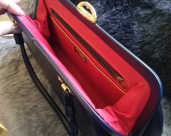 Mid Century Navy Blue Leather Delicato By Markay Kiss Lock Kelly Bag/ Red Lining!