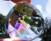 Lovely ASFOUR 40mm iridescent German Crystal prism ball w/ flashy Aurora Borealis finish - Feng Shui - suncatcher - for glass crafting