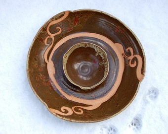 Huge Platter and Bowl Set in Brownstone with Rust Waves