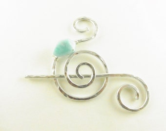 Shawl Slide/Brooch/Pin/Clasp Spiral with Genuine Amazonite