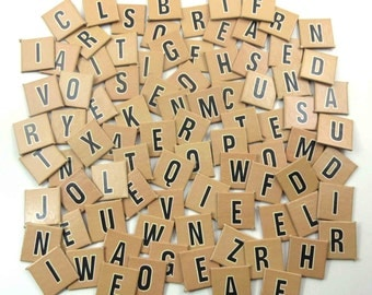 Vintage Tan Cardboard Scrabble Tiles or Game Pieces Set of 87