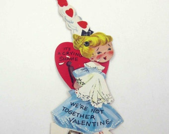 Vintage Children's Mechanical Valentine Greeting Card with Cute Blonde Girl in Dress Crying in Handkerchief Hanky
