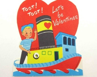 Vintage Unused Children's Novelty Valentine Greeting Card with Cute Boy in Boat Tugboat on Water
