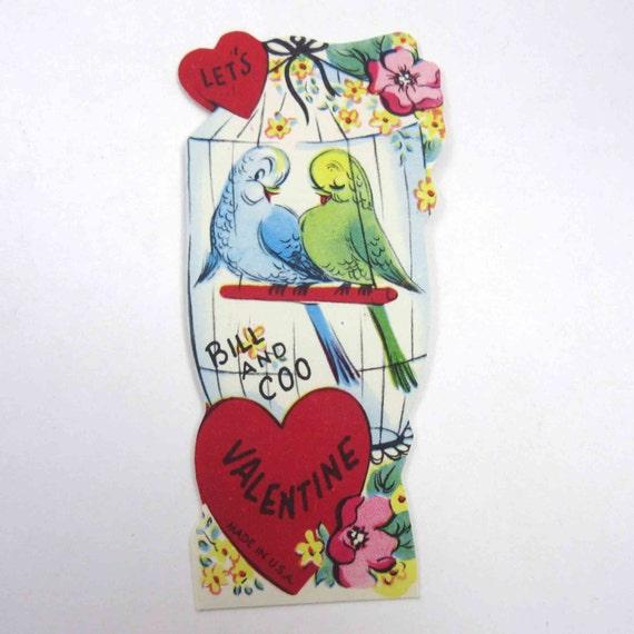 Valentines Day Vintage Birds Parrots Cards – Bird Valentine Card