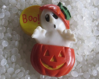 Vintage Halloween Jack o' lantern and ghost Boo  lapel pin brooch Hallmark