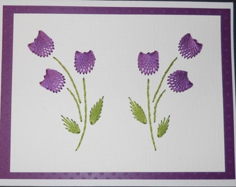 Purple Tulip Handstitched Note Card/5 Pack