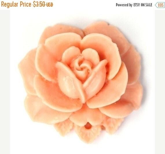 50% Off Sale Vintage Style 34mm Matte Peach Plastic Rose Pendant or Cabochon (2) PC168