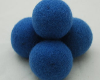 4cm Felt Balls -5 Count - Cerulean Blue