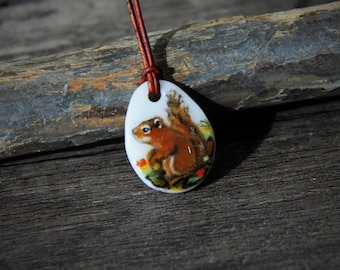 Beautiful little tiny Squirrel necklace - fused glass pendant