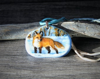 Fox in the winter -  Fused glass pendant