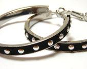 Black Leather Studded Hoops - Faux black leather wrapped hoops with silver circular metal studs - Nickel free hoop earrings