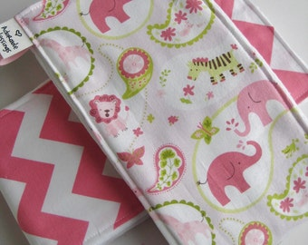 3 Burp Cloths Zoo Chevron Girl Set