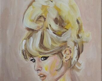 "ORIGINAL Painting Brigitte Bardot 8x10"""