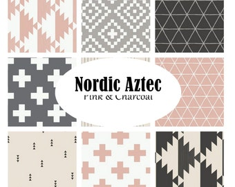 Custom Crib Bedding Nordic Pink and Charcoal Tribal Aztec Custom Crib Bedding - Baby Boy Bedding Set-Geometric, Triangles,Plus Sign,Charcoal