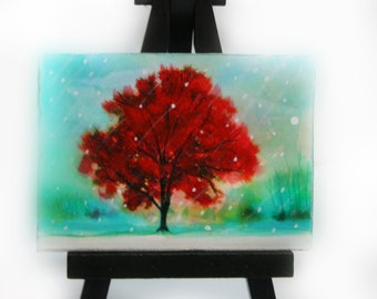 Winter greets autumn, aceo original, Easel and Art, Tiny art, little gifts #gifts under 20 #winter art #aceo #winter landscape