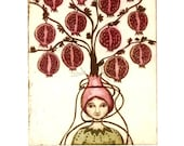 etching, Pomegranate girl, pomegranate, fruit, tree, red, hat, printmaking, home interior, girl, inspirational art, humor, entwined, memory