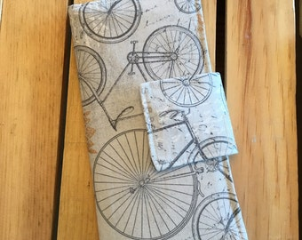 Womens Carry All Snap Wallet in Gray and Gold with Vintage Bicycles
