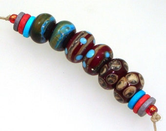 Handmade Lampwork Glass Beads - Alturas! 3 pairs. Red with raku, turquoise, silvered ivory, dots. Stacked dots, earring pairs, fine silver.