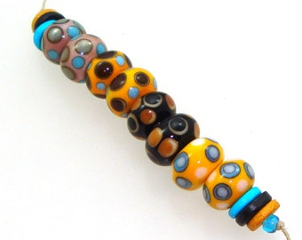 Handmade Lampwork Beads - 4 pairs. Dotties in powder pink, apricot, black, yellow, turquoise. Stacked dots, earring pairs.
