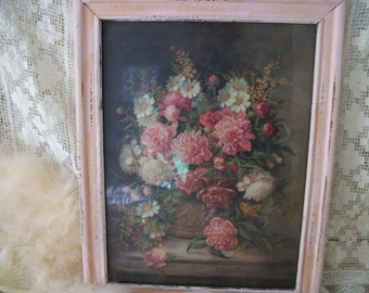 antique pink and cream peony still life framed print, peonies & summer daisies, original antique frame, 18 by 14, chic cottage charm, floral