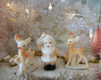 1950 vintage gurley candles, blush pink santa, 2 'young rudolph' reindeer, unlit, old christmas holiday decorations, set of 3, shabby charm