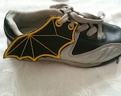 Bat wings shoe wings  youth  sized (finished item) one pair laces for velcro style, made to order