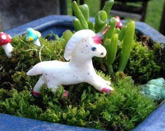 White Unicorn , Polymer Clay, Fairy Garden, Dolls house, Rainbow tail.Birthday Gift , Gift for Her