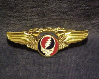 Grateful Dead Steal Your Face Gold Plated Wings  Small  Pin    hippie  SYF  Deadhead